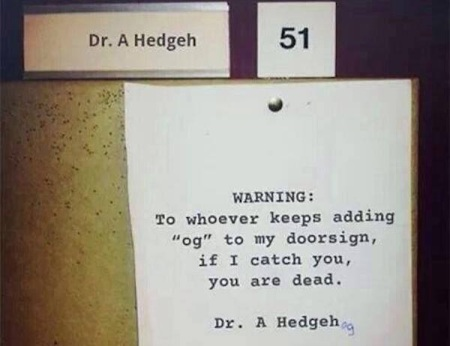 SIGN Dr Hedgehog sign