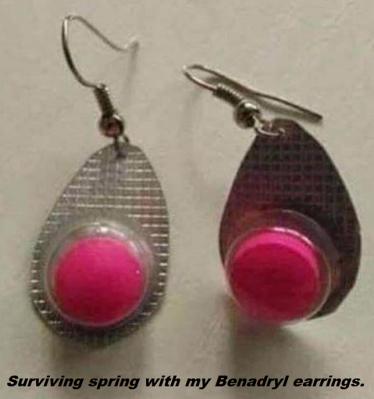 Benadryl earrings