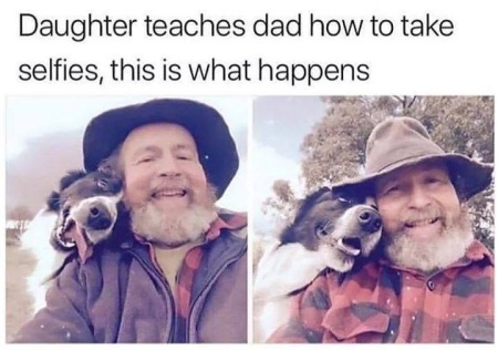 Dad and dog selfies