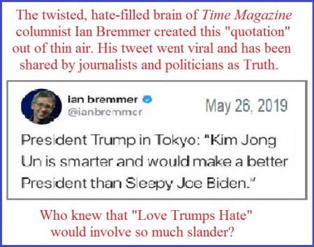 Bremmer tweets lie