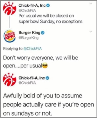 Chick fil A v Burger King tweets