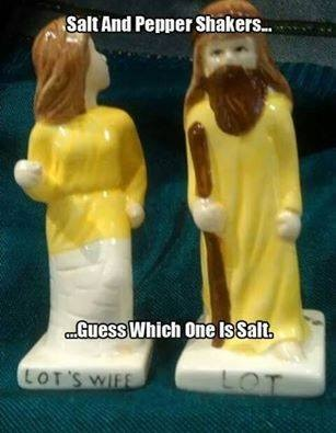 CHRISTIAN Lot and Lot's wife salt and pepper shakers
