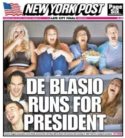 de blasio runs NY Post