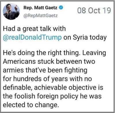 2019_10 14 Gaetz Syria tweet
