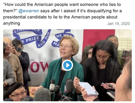 2020 warren on liars