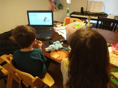 2020_04 13 watching FLOTUS read Easter bk